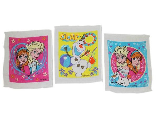 卡漫城日本製冰雪奇緣小方巾三入組艾莎安娜雪寶Frozen小毛巾童巾洗臉巾擦手巾