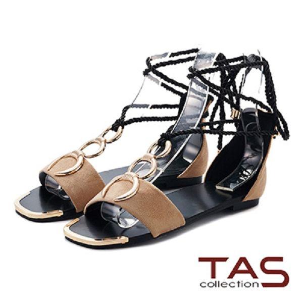 TAS  金屬扣環繫帶編織長綁帶涼鞋-質感米