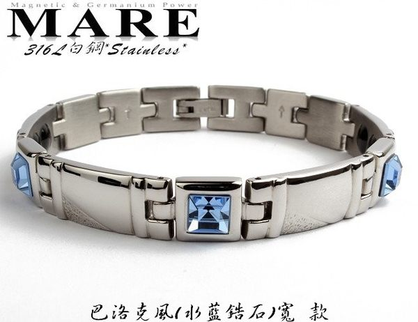 MARE-316L白鋼系列:巴洛克風水藍鋯石寬款