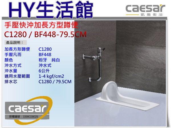 Caesar凱撒衛浴C1280 BF448 79.5CM手壓快沖加長方型蹲便手壓式蹲式馬桶區域限制