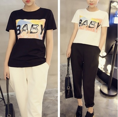 AU22春夏新款韓版BABY字母印花圓領短袖修身套頭t恤衫女潮