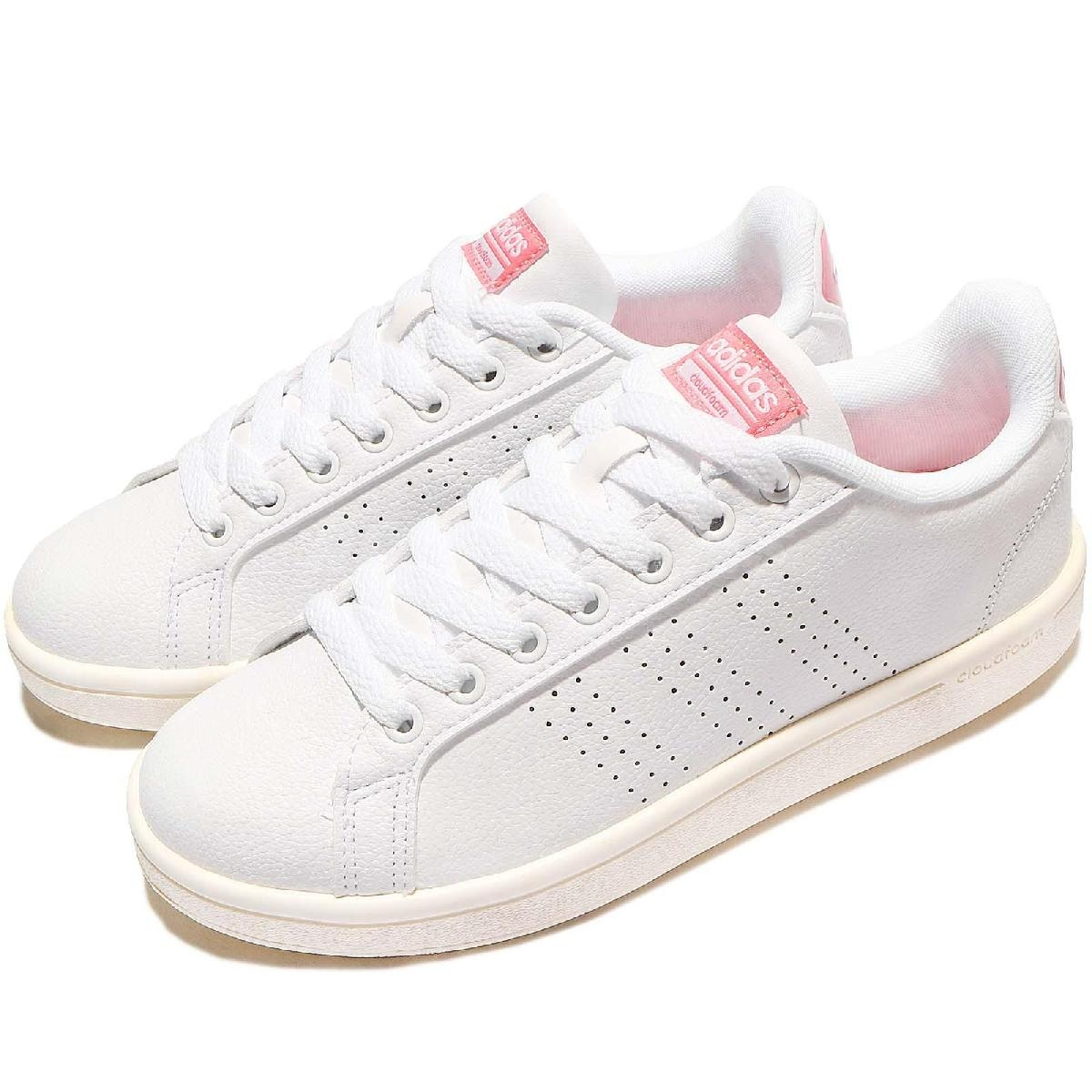 adidas 休閒鞋 Cloudfoam Advantage Clean 白 粉紅 皮革 奶油底 小白鞋 女鞋 【PUMP306】 AW3974