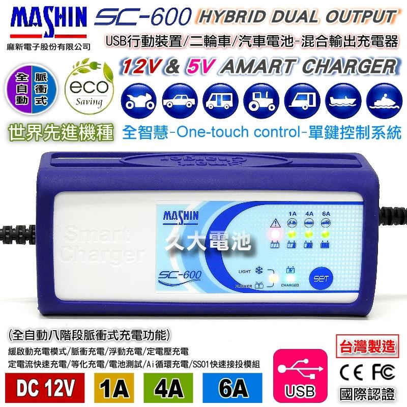 久大電池麻新電子SC600脈衝式充電器免拆電池充電器USB充電加購1米加長版O型環接頭