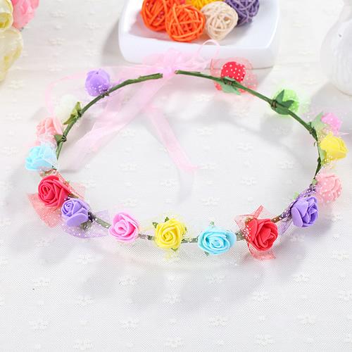 花環頭飾發飾頭環手環 森女海邊兒童 新娘花朵頭發箍 16朵花PE(十六花)花環─預購CH1730