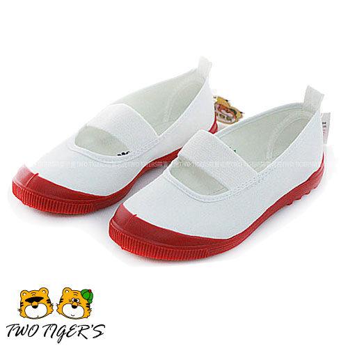 日本月星MoonStar白色紅帆布膠底止滑兒童室內鞋NO.Q5918