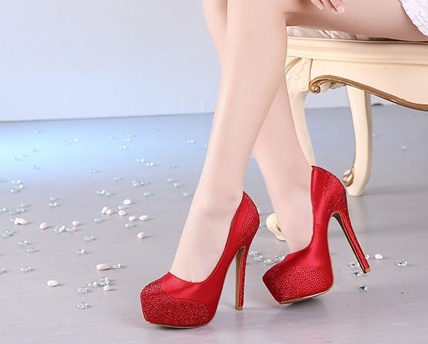 婚紗鞋防水台超高跟水鑽婚鞋新娘鞋婚禮高跟鞋水晶鞋 : hmz0021