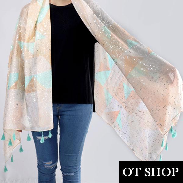 OT SHOP防曬空調絲巾 幾何莫蘭迪配色 燙銀 流蘇 棉質圍巾披肩 幾何流蘇 現貨 D8056