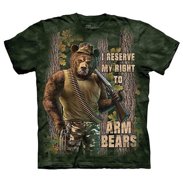 摩達客預購美國進口The Mountain Life戶外系列戰鬥棕熊純棉環保短袖T恤10415045185