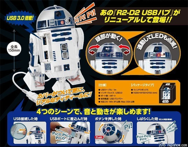 Poco玩具部全新Star Wars星際大戰R2-D2 R2D2 4-Port USB 3.0 Hub