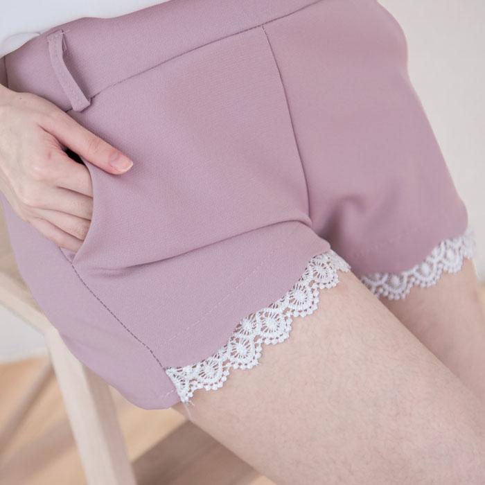 鏤空蕾絲花邊西裝短褲  [灰粉 黑] DP160012