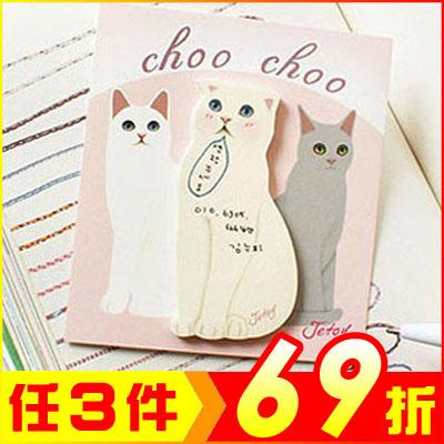 韓國可愛萌貓咪便條紙便利貼一組約30張*10組入款式隨機AE14036-10大創意生活百貨AE14036-10