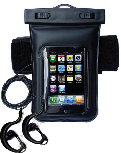 iphone4S 4S專用防水袋運動臂袋防水耳機耳機孔3.5mm的手機都可用防水帶游泳釣魚跑步iphone3G ipod touch