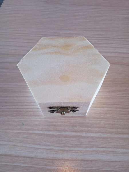 雪花泥珍珠泥兒童diy手工制作六角盒木質白胚益智玩具六角盒白胚預購CH536