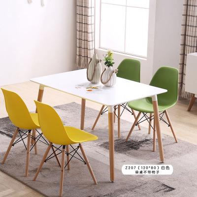 北歐實木餐桌椅組合咖啡廳桌奶茶店洽談桌椅伊姆斯小戶型吃飯桌子預購CH1376