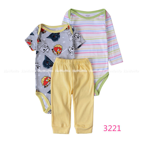 超低折扣NG商品~長袖套裝長袖包屁衣短袖包屁衣長褲三件式LZ6212好娃娃