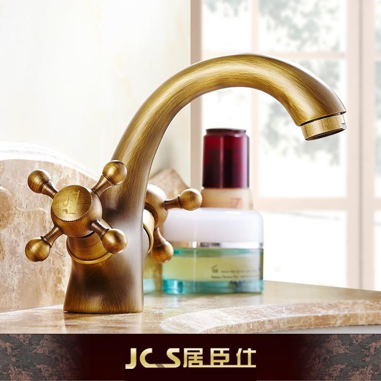 全銅歐式仿古面盆冷熱水龍頭浴室衛生間復古洗手臉盆臺盆雙把龍頭