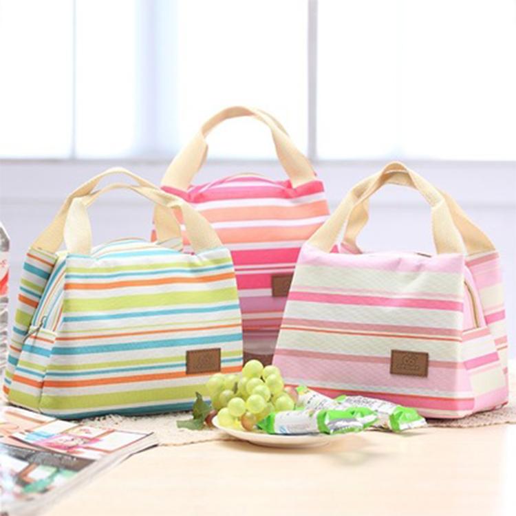 繽紛七彩條紋保溫包便當包野餐包庫奇小舖三色