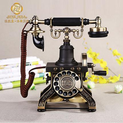 復古工藝-歐式仿古旋轉電話機洛斯貝拉創意復古電話機座機家用  預購10天 現貨