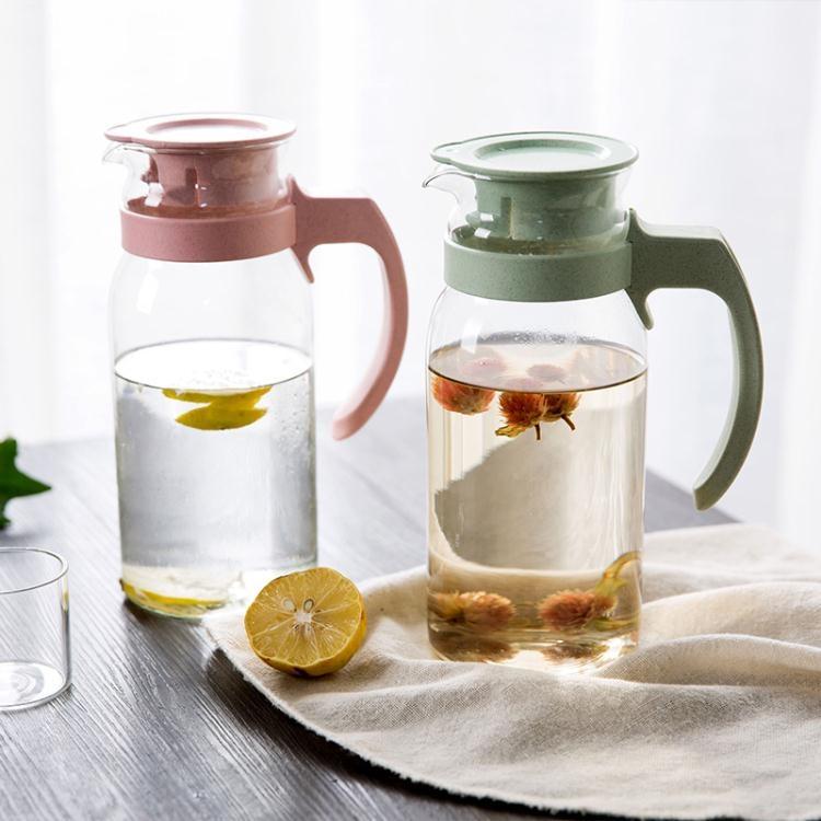 居家家麥香玻璃涼水壺果汁壺1100ml家用大容量冷水壺耐熱扎壺水壺