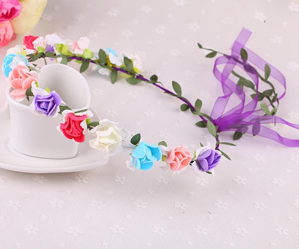 草莓花 花環頭飾景區海邊森女新娘發簪飾品花環材料(草莓花14花)(彩色)花環─預購CH1748