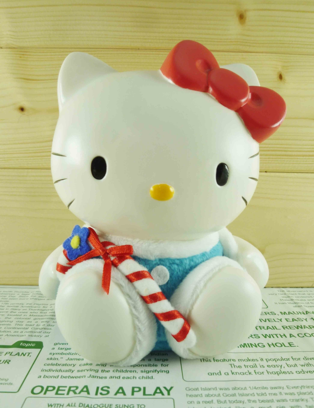 震撼精品百貨Hello Kitty凱蒂貓~塑膠造型存錢筒~聖誕藍