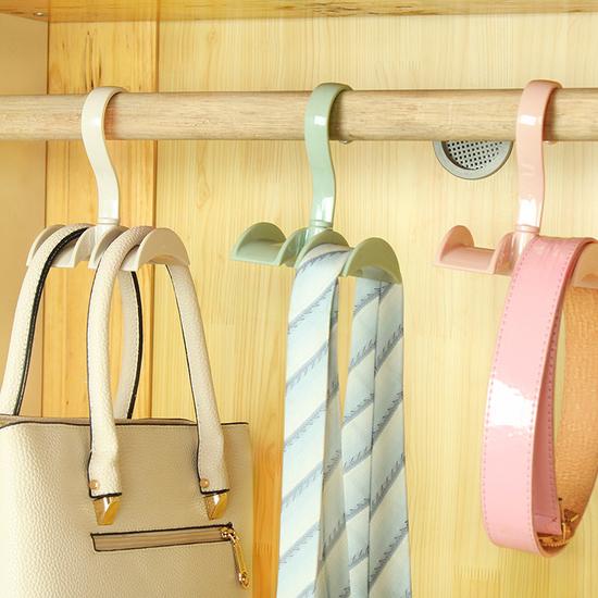 米菈生活館L200多功能提包用掛鉤免釘衣櫃皮帶領帶櫥櫃懸掛收納支架旋轉加寬