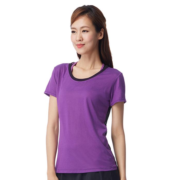 【MACACA】羽紋秘語罩衫-AUA2112(紫)(瑜伽/長跑/快走/網球/輕運動)