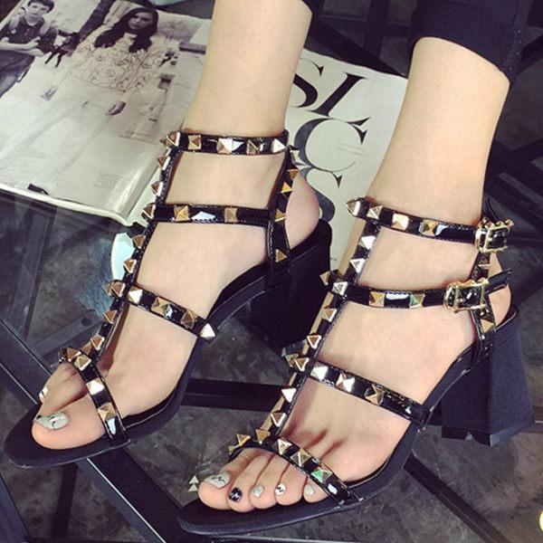 涼鞋 歐美個性金屬鉚釘細帶羅馬涼鞋【S1013】☆雙兒網☆