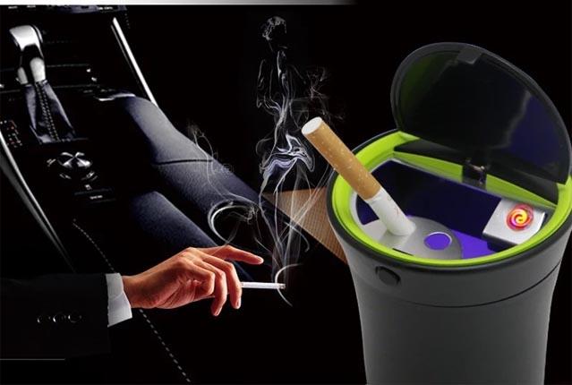 免換電池 充電式 車用 菸灰缸 USB充電 可以點菸設計 自動掀蓋開關 LED炫藍光 消光磨砂面 不銹鋼
