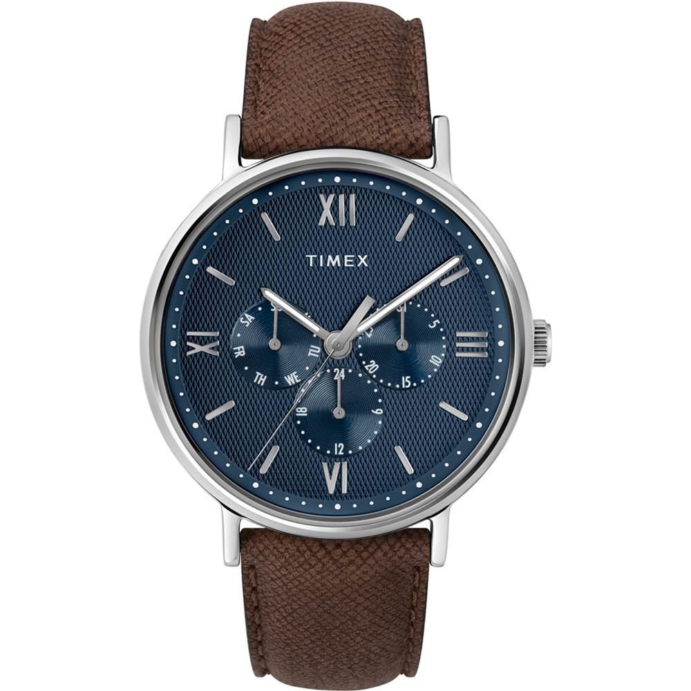 【TIMEX】天美時 風格系列 羅馬字三眼多功能手錶  (咖啡/藍TXTW2T35100)