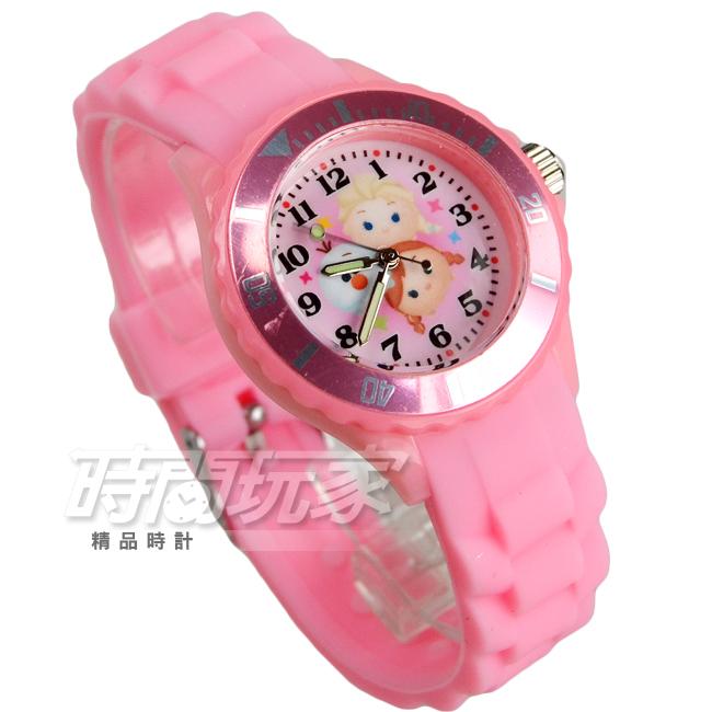 Disney迪士尼TSUM TSUM時尚卡通手錶冰雪奇緣兒童手錶數字女錶矽膠錶帶DT冰雪粉中