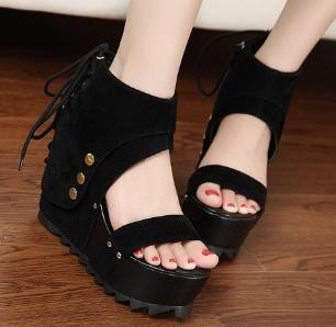 俏魔女美人館鞋涼涼鞋女高跟柳丁系帶舒適歐美坡跟羅馬鞋靴子厚底水鑽