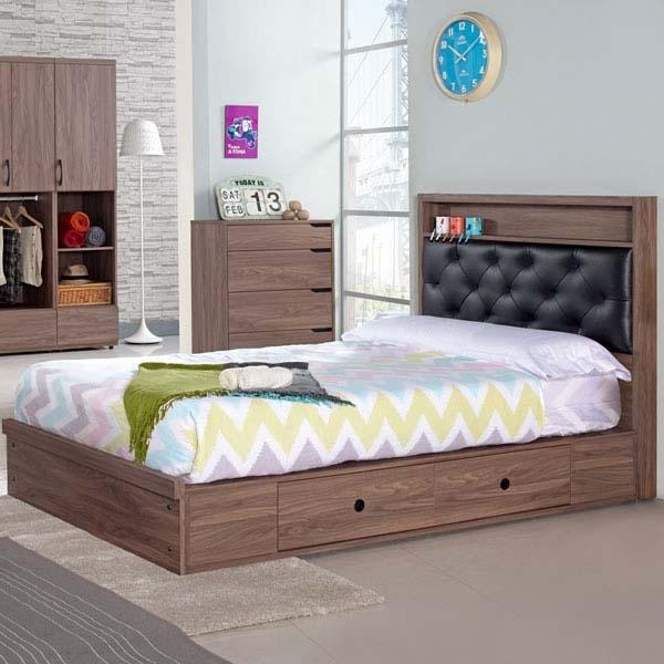 單人床YoStyle妮克抽屜式床台組-單人3.5尺不含床墊收納單人床小資套房小孩房
