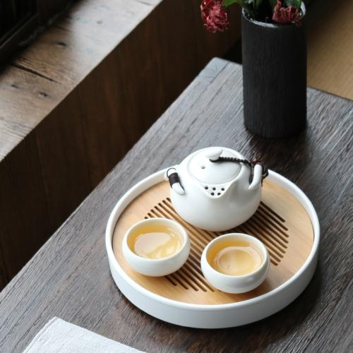白瓷蓋碗茶碗陶瓷手抓壺定窯大號功夫茶具三才茶具泡茶杯泡茶器黑色地帶