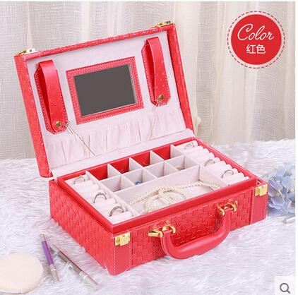 京東生活小物首飾盒木質公主歐式帶鎖韓國首飾收納盒批發絨布手飾盒