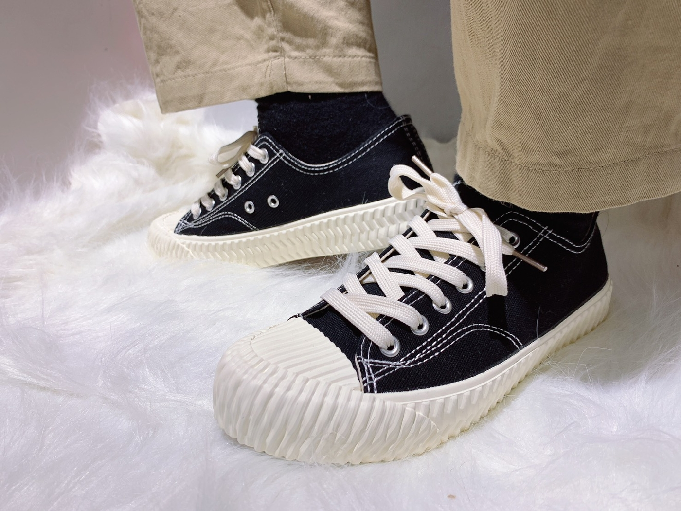 X-INGCHI. 女餅乾頭布鞋 黑 NO. X0016