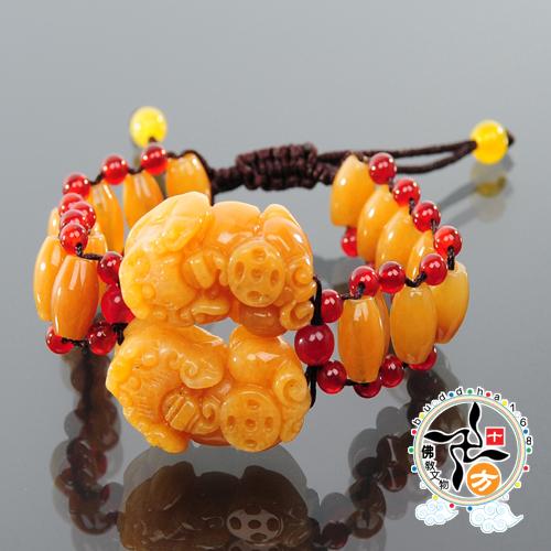 貔貅黃玉手鍊平安加持小佛卡十方佛教文物