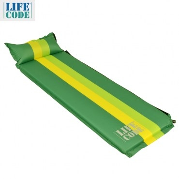 LIFECODE條紋可拼接自動充氣睡墊有枕頭設計-厚5cm-綠色