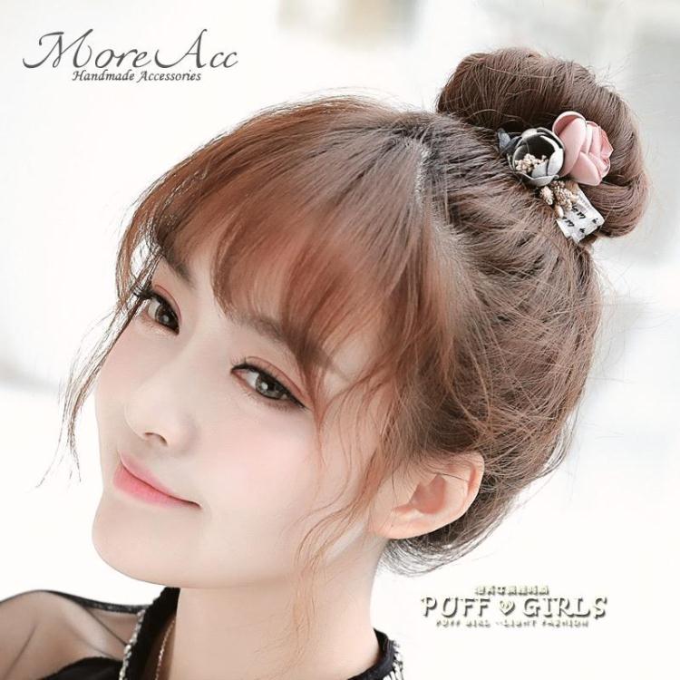 花朵發圈韓國蝴蝶結頭繩丸子頭飾品日韓扎頭發繩皮筋可愛