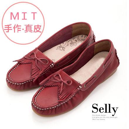 Selly*沙粒*MIT系列V口流蘇蝴蝶結全真皮莫卡辛便鞋復古紅