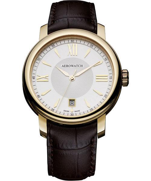 AEROWATCH Elegance 羅馬復刻腕錶-銀x金框 A42937RO02