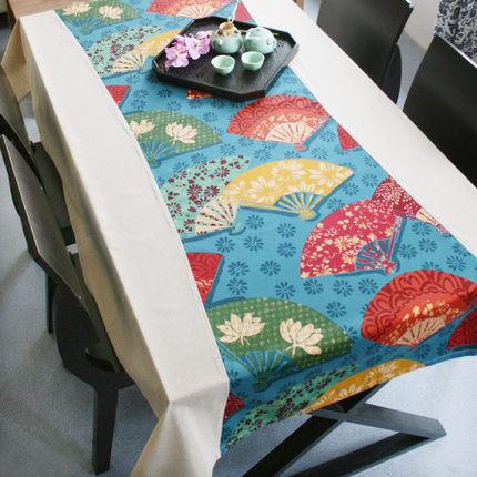 貢緞拼布桌布餐桌蓋布 輕羅小扇(140cm*180cm)