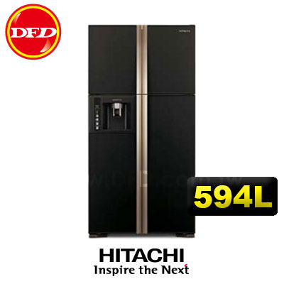 HITACHI日立冰箱RG616四門對開594L日本原裝寬淺型大四門對開冰箱琉璃黑運費另計需加購