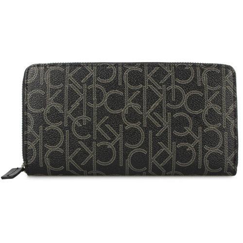 【搶購款】Calvin Klein CK新款LOGO圖紋寬版拉鍊長夾/零錢包/皮夾/錢包/證件包/證件夾(黑色)103040
