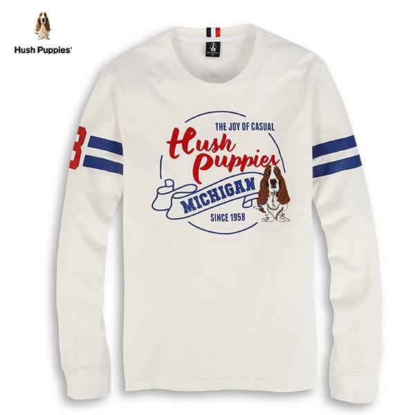 Hush Puppies T恤 男裝袖印條刺繡狗T恤
