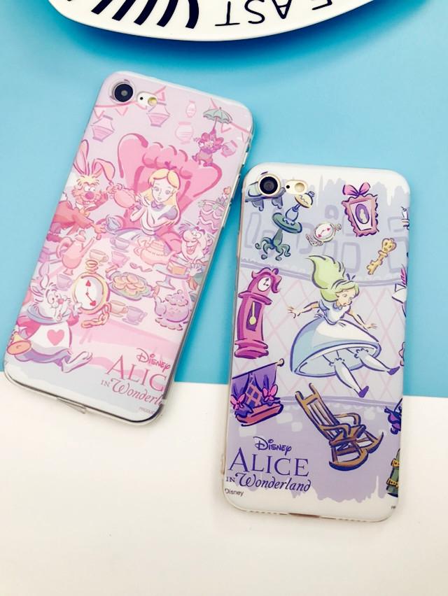iPhone手機殼可掛繩紫粉奇幻愛麗絲矽膠軟殼蘋果iPhone7 iPhone6 iPhone5手機殼