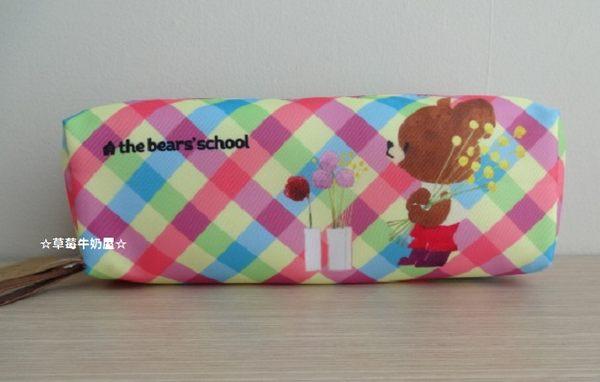 ☆草莓牛奶屋☆日本進口【Bear's School小熊學校】格紋長條筆袋