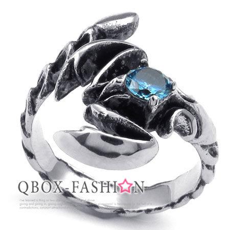 QBOX FASHION飾品W10023385精緻個性蠍子鑲藍鋯石鑄造316L鈦鋼戒指戒環人氣推薦