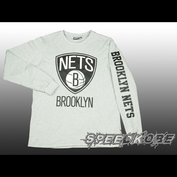 NBA冬季薄版長袖棉T籃網隊基本大logo袖英文字灰色8560108-003 speedkobe