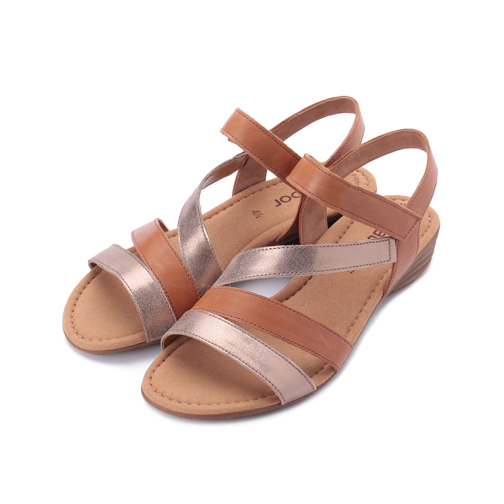 德國 GABOR 亮蔥雙色繞帶涼鞋 棕金 24.551.68 女鞋